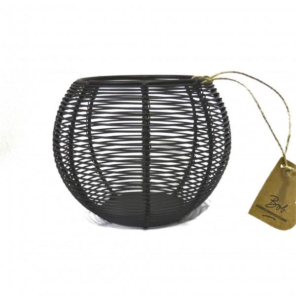 Teelichthalter Teelichtständer Kerzenständer Modern Schwarz Metall Rund Bob 10 x 13 cm
